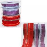 Weihnachtsband Classico Schmuckband mit Lurexstreifen in 2 Farben und Breiten