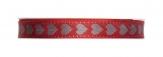 Weihnachtsband rot mit silbernen Herzen 15mm20m