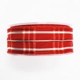 Weihnachtsband - Drahtkante - rot weiß 40mm15m