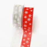 Weihnachtsband Schneeflocke rot und grau 40mm20m