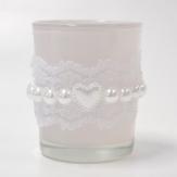 Windlichtglas weiß Ø6cm 3Stk