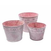 Zinktopf rund rosa als Set 1Stk