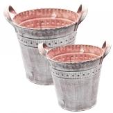 Zinktopf rund rosa in zwei Größen 1Stk